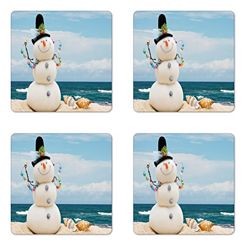 Ambesonne Snowman Coaster Set of 4, Winter Vacation Holiday Theme Snowman with Seashells Sitting on Sandy Beach Coastal, Square Hardboard Gloss Coasters for Drinks, Blue ()