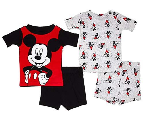 - Disney Boys' Toddler Mickey Mouse 4-Piece Cotton Pajama Set, Red Black, 4T