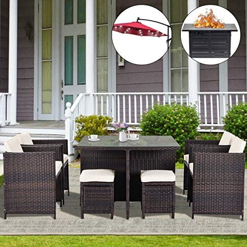 HOOSENG Propane Fire Pit Table 9 Pcs Patio Dining Table Set Random Umbrella Offered | 60000 BTU 42 inch Rectangle Gas Pit-CSA Certification | Hand-Made Rattan | 24 LED Lighted Umbrella