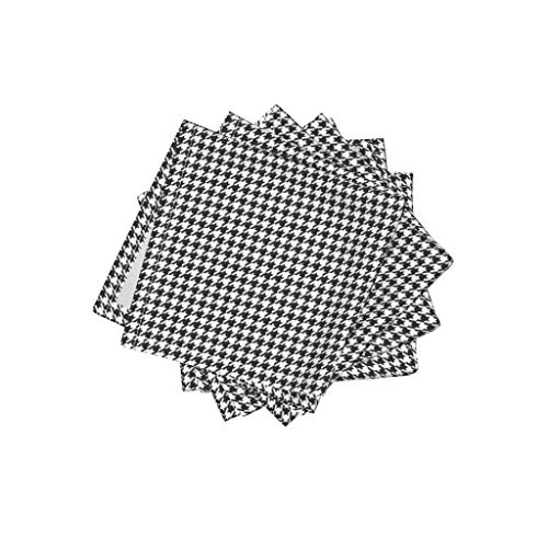 Roostery Black and White Linen Cotton Cloth Cocktail Napkins - Graphic Mod Preppy Traditional Check Houndstooth by Peacoquettedesigns (Set of 4) 10 x 10in