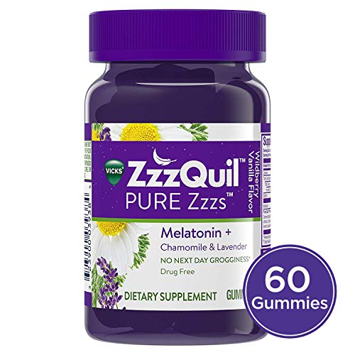 (Vicks ZzzQuil PURE Zzzs Melatonin Natural Flavor Sleep Aid Gummies with Chamomile, Lavender, & Valerian Root, 1mg per gummy, 60 ct (Packaging May Vary))