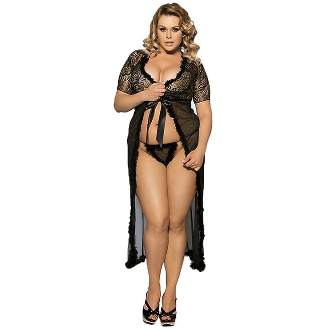 b922a44509f0 LvRao Donna Sexy Pizzo Mesh Trasparente Camicie da Notte Accappatoio Lungo  Vestito V Collo Manica Corta Lingerie Intimo Pigiama Kimono  Amazon.it  ...