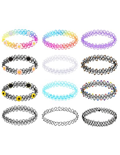 (Mudder Choker Stretch Gothic Tattoo Choker Henna Necklace Elastic Choker Necklace Set for Women and girls, 12 Pieces)