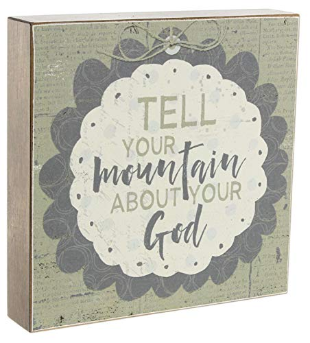 Teachers Bible Verses (Blossom Bucket Tell Your Mountain About Your God Decorative Box Sign MDF Wood 8