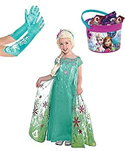 Disneys Frozen Fever Elsa Costume, Gloves and Candy Bucket Deluxe Set, Large