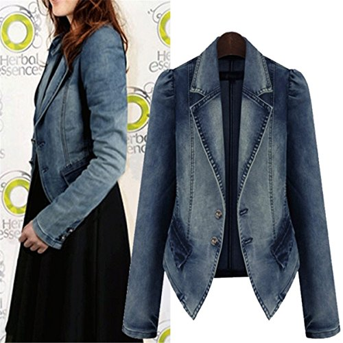 IWFREE Damen Jeansjacke Mantel Denim Jacke Mädchen Frauen Herbst Beiläufig Lose Jeans Coat Outwear
