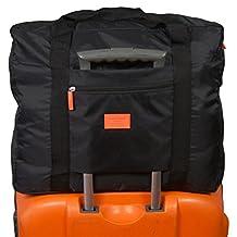 Lightweight Folding Duffel Bag Portable Storage Shopping and Travel Luggage Bag (black)