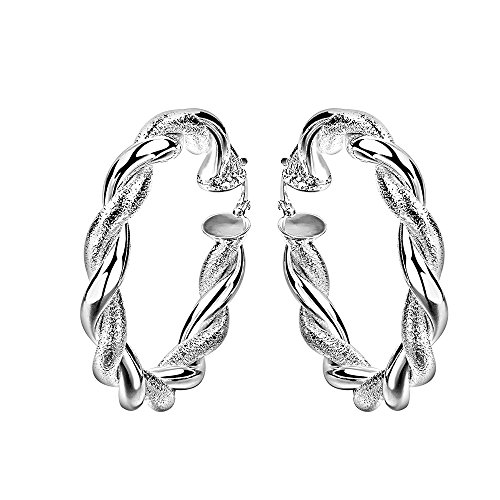 Sterling Silver Plated Earrings Hoop French Clip .28
