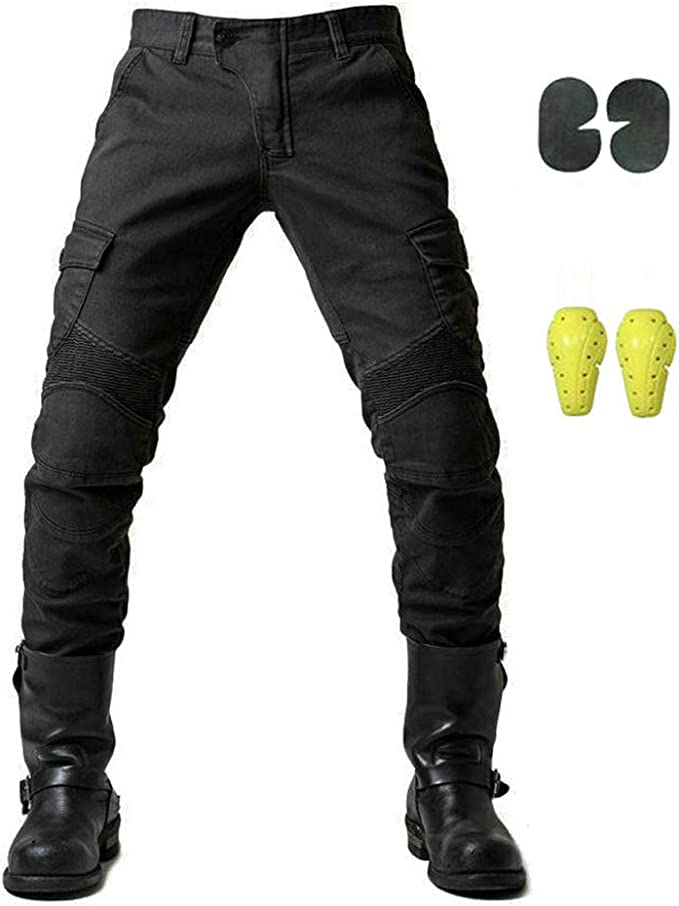 Geling Sportliche Motorrad Hose Mit Protektoren Motorradhose Mit Oberschenkeltaschen Schwarz M Auto