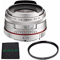 Pentax HD Pentax DA 15mm f/4 ED AL Limited Lens (Silver) + UV Filter + MicroFiber Cloth 6AVE Bundle