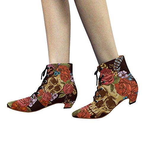 Scarpe Da D-story Con Teschio E Fiore Stringati Martin Boots Da Donna Multi1