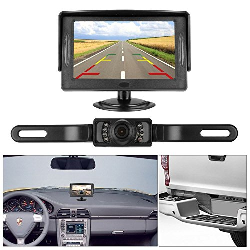 Wireless Security Console Kit (iStrong Backup Camera and Monitor Kit 4.3 Display Waterproof Camera only need single power Rear view or Fulltime View Optional For Car Vehicle 7 LED IR Night vision with Guide Lines)