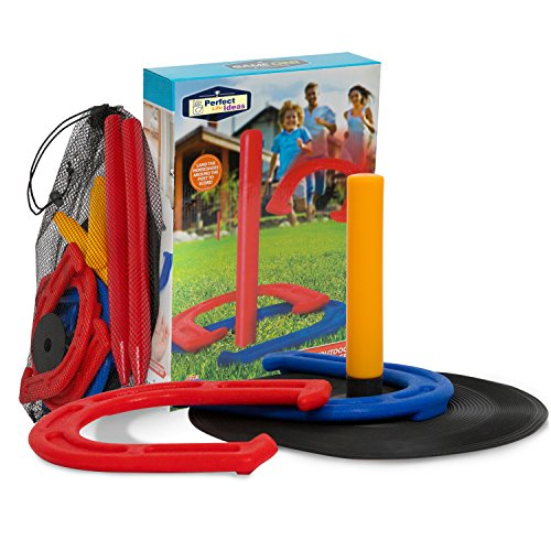 Indoor Outdoor Games For Kids And Family   Yard Beach Camping Games As Horseshoe Set Toss Across Game   Perfect Plastic Horseshoes Kids Party Carnival Games