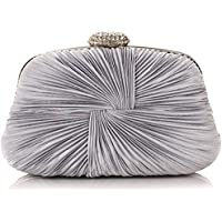 Ladies Vintage Satin Evening Bag Party Wedding Handbag Clutches Bag (Silver)