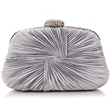 Ladies Vintage Satin Evening Bag Party Wedding Handbag Clutches Bag (Silver)