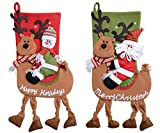 QBSM Classic Cute Christmas Stocking Decorations Gift Bag Xmas Character 3D Plush Linen Hanging Tag Set of 2 Santa, Snowman Ride Deer 22 inch
