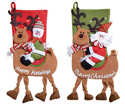 QBSM Classic Cute Christmas Stocking Decorations Gift Bag Xmas Character 3D Plush Linen Hanging Tag Set of 2 Santa, Snowman Ride Deer 22 inch (Christmas 22 Stocking Snowman)