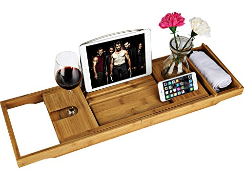 Luxury Wood Bamboo Bathtub Bath Tub Caddy Tray with Extending Sides Built in Book Tablet Phone Wineglass Holder