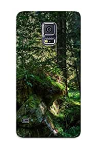 Eatcooment Galaxy S5 Hybrid Tpu Case Cover Silicon Bumper Mossy Rocks In The Woods