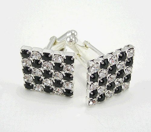 (LJ Designs Crystal & Black Cufflinks - Silver Plated - Made With Crystals From Swarovski)
