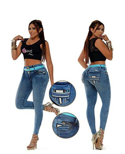 Vaqueros Jeans Wonder- Push-Up- Súper Pitillo Skinny Jeans Efecto Wonder Colombiano 100% Levanta Glúteos Pantalon Mujer Azul