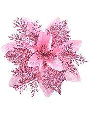 GL-Turelfies 12 st glitter julblommor (15 cm/5,9 tum) med 12 st klämmor konstgjorda julstjärnor blommor julgran blomdekorationer julgransprydnader (rosa)