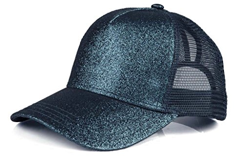 fcbb89dd32706 Funky Junque Womens Baseball Cap High Ponytail Messy Bun Glitter Sequin  Rave Mesh Hat