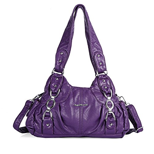 (Handbag Hobo Women Bag Roomy Multiple Pockets Street Ladies' Shoulder Bag Fashion PU Tote Satchel Top Handle Bag (AKW22024 156# Purple))