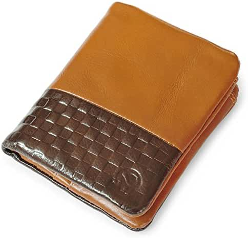 Men's Wax Genuine Cowhide Leather Bifold Wallets with Snap Closure