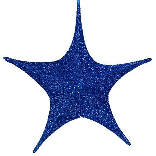 Hanging Star Decoration, Christmas Decoration Star Decoration Party, 4th of July Star Home Decorations, Ultra Lightweight, Fabric Covered, Fold Flat Metal Frame (16 Inch, Blue Metallic Mesh)