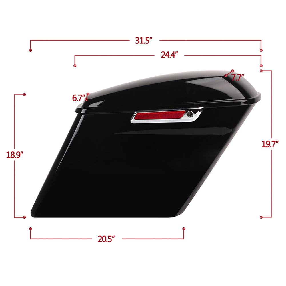New 5 Vivid Black Heavy-Duty Waterproof ABS Stretched Extended Hard Motorcycle Saddlebags Trunk Luggage w//Lid Latch Keys for Harley Davidson Touring Models 14-Up Electra Glide Road King Ultra Street
