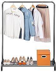 LANGRIA Portant à Vêtement Métal avec Rangement Chaussures Moderne Minimaliste Charge Lourde avec Simple Barre Tablette Stockage Inférieure pour Boîtes 120 x 45 x 160 cm (Noir)