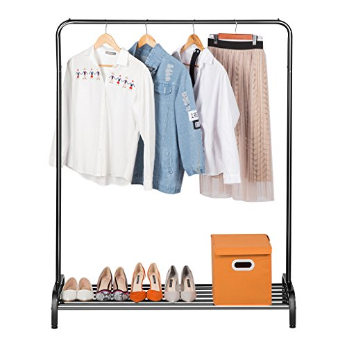 LANGRIA Clothing Garment Rack Heavy Duty Commercial Grade Clothes Stand Rack with Top Rod and Lower Storage Shelf for Boxes Shoes Boots 45.7 x 15.7 x 57.1 inches, Black ()