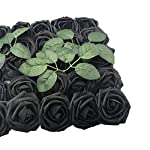 Artificial-Flowers-Rose-50pcs-Real-Looking-Artificial-Roses-wStem-for-Bridal-Wedding-Bouquets-Centerpieces-Baby-Shower-DIY-Party-Home-Decor-Black-with-4-Leaves