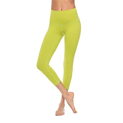 2ae93e45366a5 Charaland Women High Waist Yoga Capri Pants Athletic Legging Tummy Control  XS-XL Olive Green L