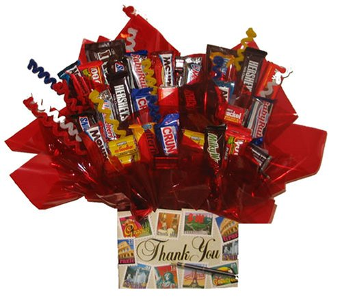 Chocolate Candy bouquet in a Thank You box by So Sweet of You