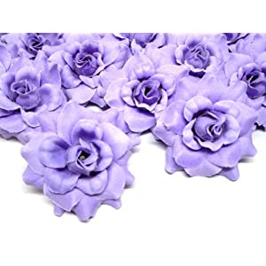"(24) Silk Purple Roses Flower Head - 1.75"" - Artificial Flowers Heads Fabric Floral Supplies Wholesale Lot for Wedding Flowers Accessories Make Bridal Hair Clips Headbands Dress 99"