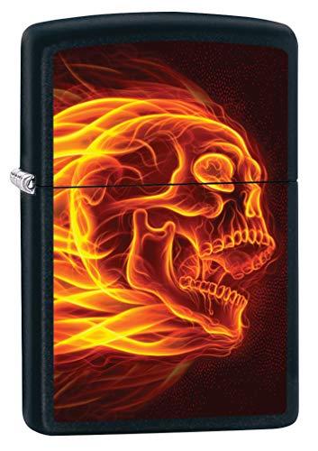 Skull Black Matte Lighter - Zippo Lighter: Flaming Skull - Black Matte 79995