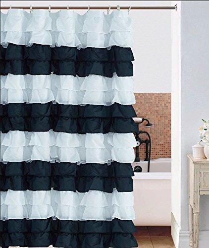 Waterfall BLACK AND WHITE Ruffled Shower Curtain