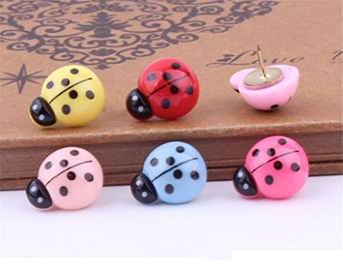 Colorful Cartoon 3D Animals Decorative Push Pins for Home,School & Office,Cute Plastic Travel Map Tack Thumb Tacks for Cork Board, Bulletin Board,Photos Wall,Calendar,Feature Wall (5pcs Ladybugs) (Pins Push Lady Bug)