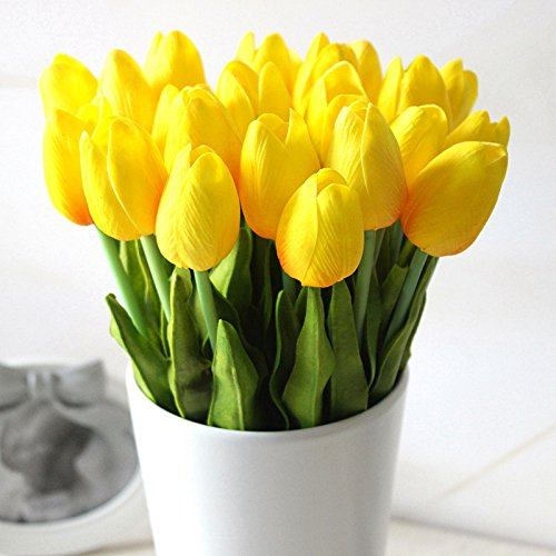(Supla Artificial Flowers 20 Heads Real Touch Tulips in Yellow PU Tulips Flowers Arrangement Bouquet Wedding Bouquets Home Room Office Centerpiece Party Wedding Decor (Yellow)(vase not Included))