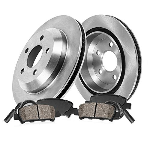 Callahan CRK02217 REAR Premium 5 Lug Brake Disc Rotors + Ceramic Pads + Sensors [ Porsche Boxster Cayman Base Spyder ()
