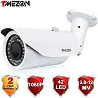 TMEZON OSD Menu AHD Camera 2.0MP 1080P HD 4-In-1 2.8-12mm Varifocal Zoom 42IR LEDs Hybrid Surveillance Security Camera