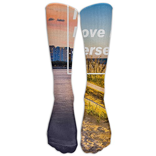 Unisex Knee High Long Socks I Love NJ - Heart American Football Team Sport Wrist Socks ZHONGJIAN
