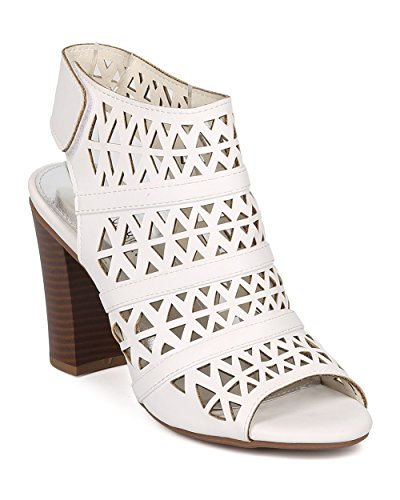 Women Leatherette Peep Toe Perforated Chunky Heel Slingback Mule GG78 - White (Size: 6.5) by Nature Breeze