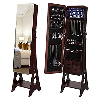 SONGMICS 8 LEDs Jewelry Cabinet with Bevel Edge Mirror Lockable Standing Armoire Organizer with 6 Drawers and Earring Board