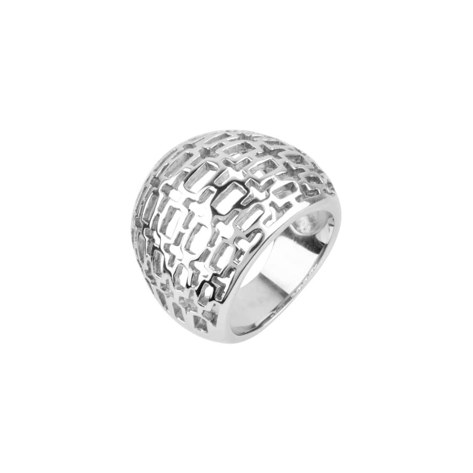 Womens Cocktail Stainless Steel Ring with Infrequent Rectangular Shaped Cut Out Design On The Top   Size 7
