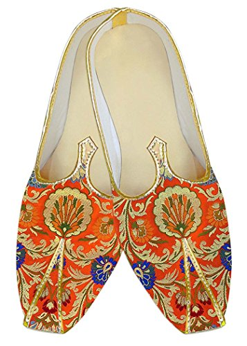 INMONARCH Hombres Boda Zapatos Étnicos Kheenkhap Naranja MJ18417