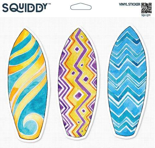Squiddy Surfboards Set of 3 Cute - Vinyl Sticker - Large Size (12