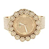 Rose Gold Finish Watch Genuine Diamond Dial Khronos Flower Custom Bezel Full Iced Out Hip Hop